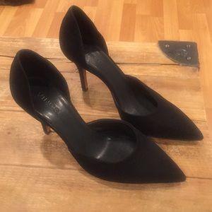 Vince. Black suade black heels
